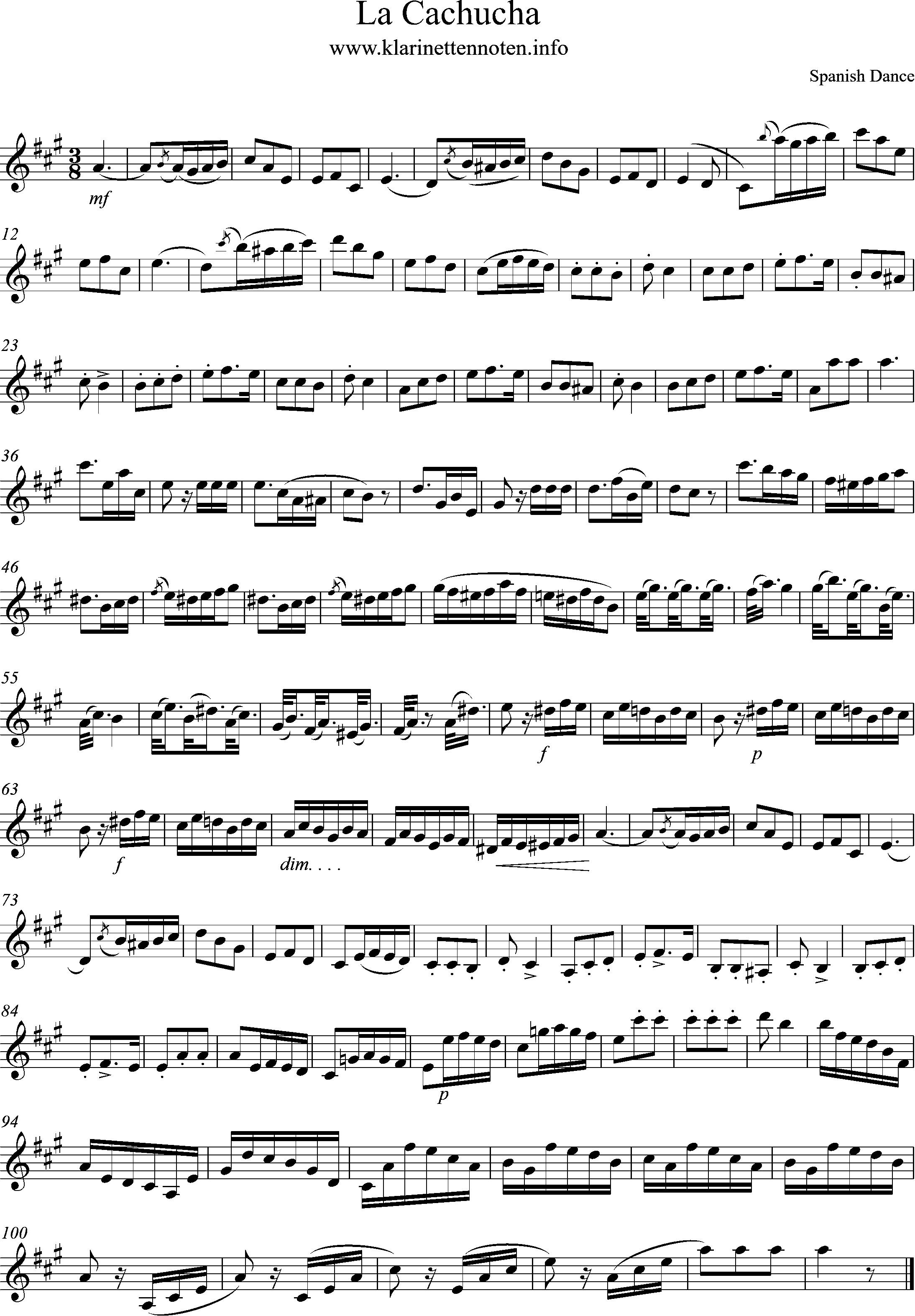 Solo Clarinet La Cachucha