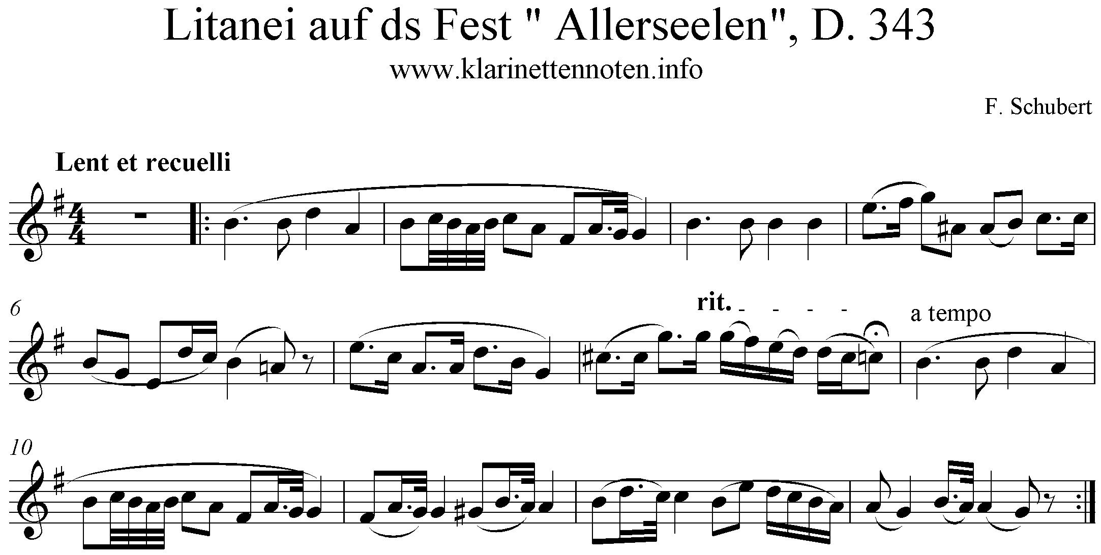 Noten Litanei, D.343, Schubert