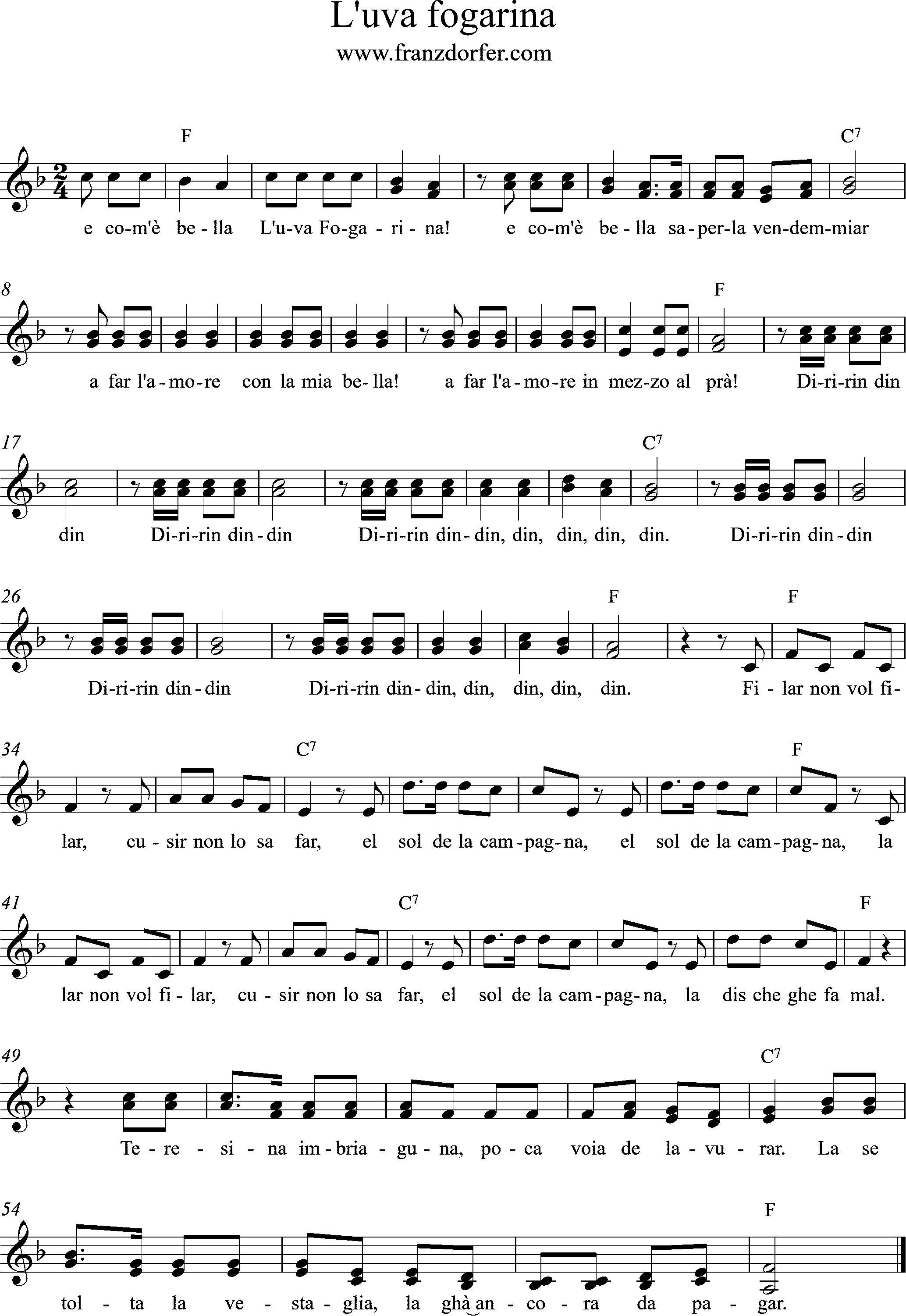 sheetmusic, F-Major