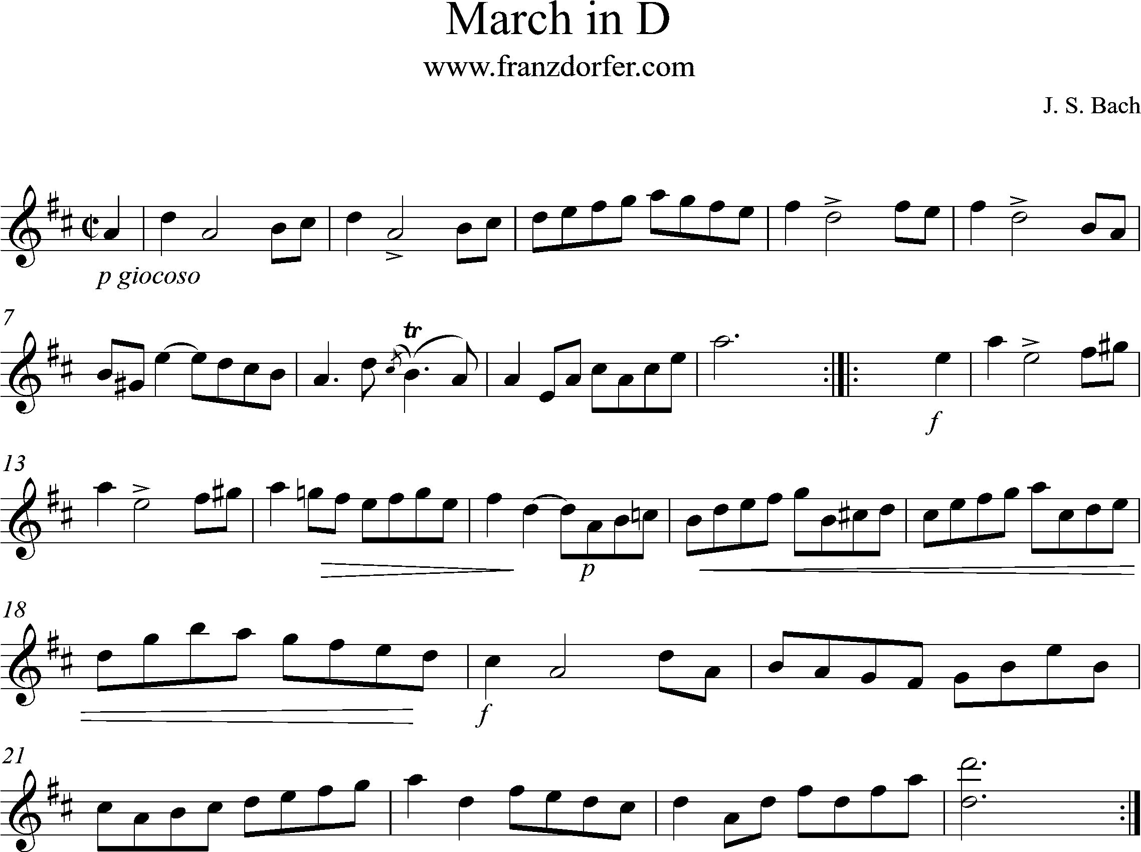 Clarinet, March in D