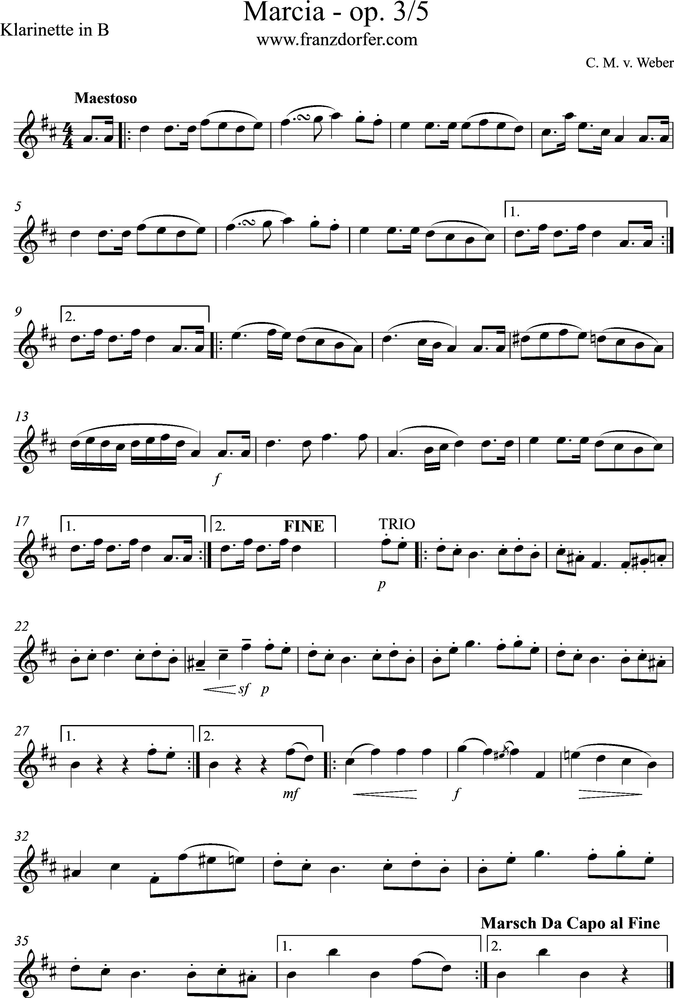 klarinettennoten - Marcia Weber