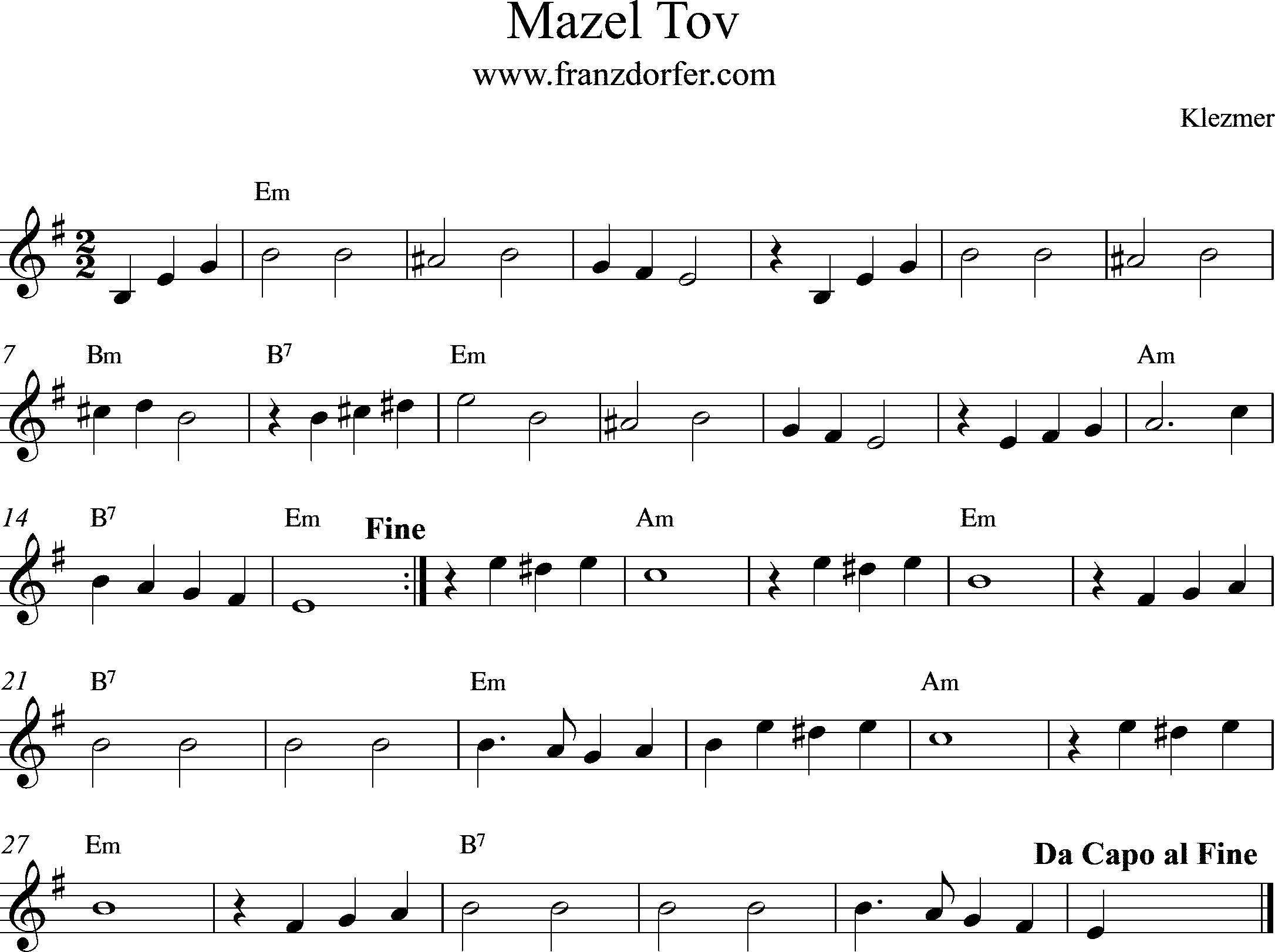 leadsheet, e-minor, mazel tov