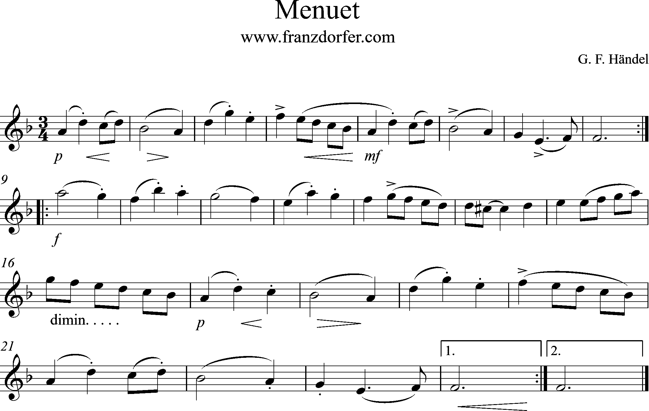 Noten Klarinette Menuet Händel
