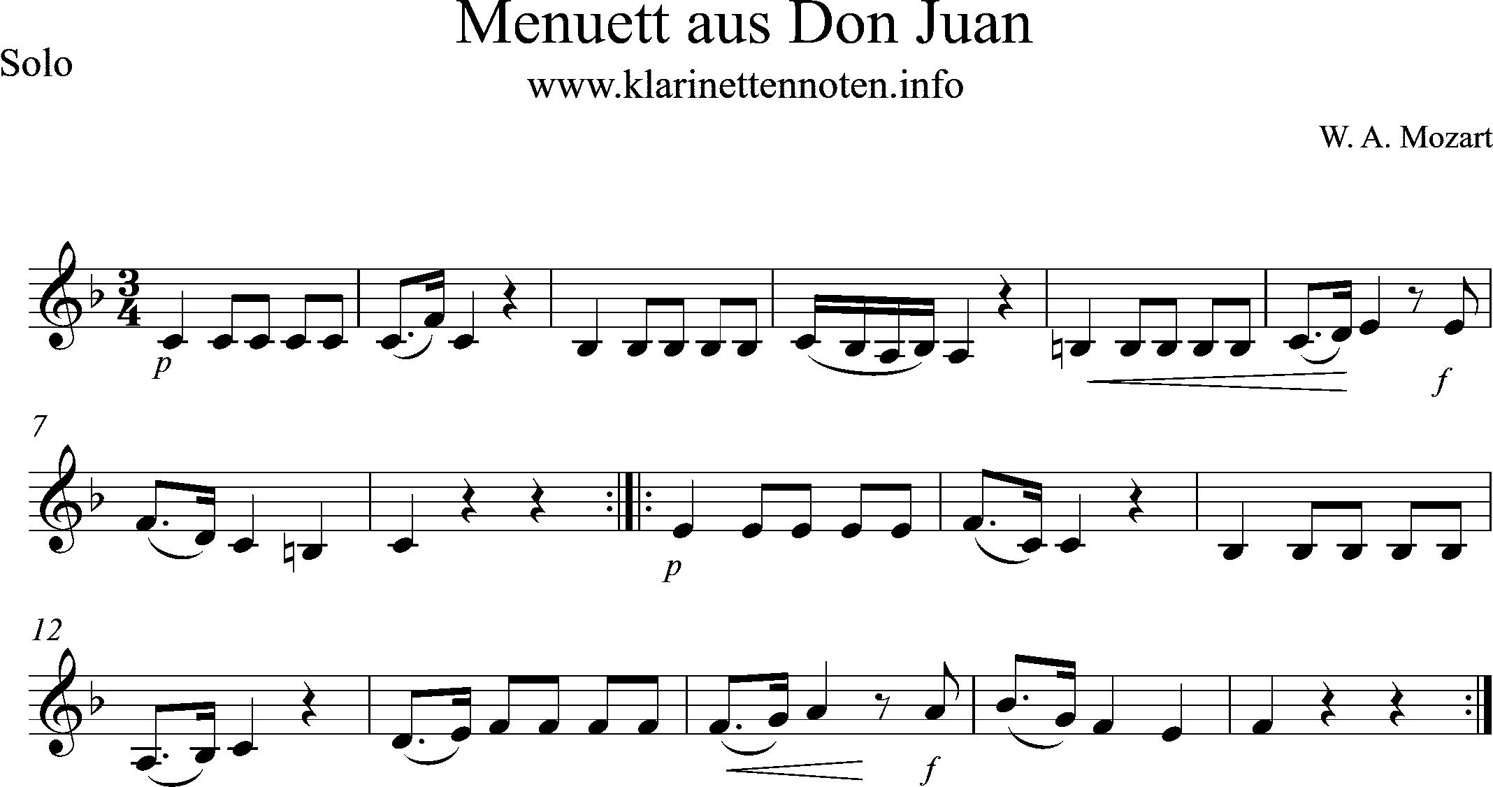 Menuet from Don Juan, Sheetmusic for Clarinet