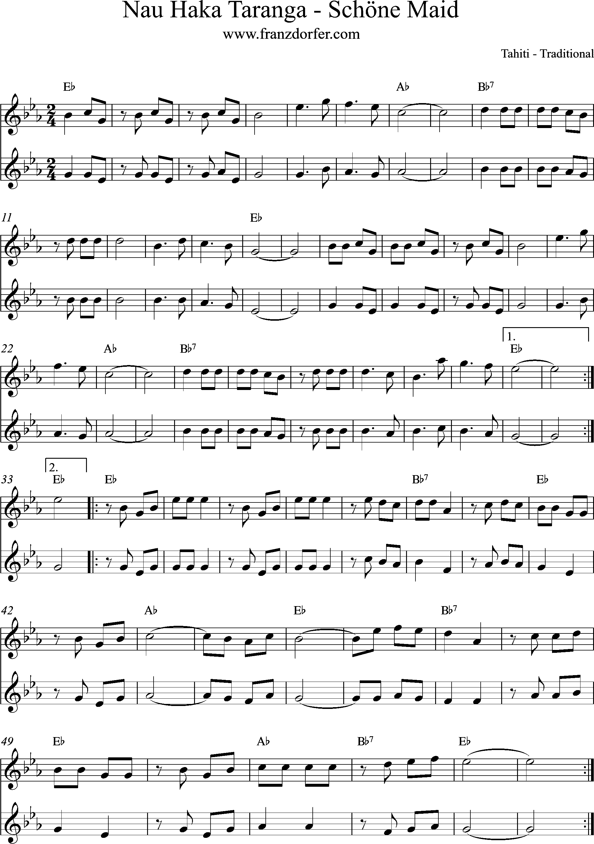 Sheetmusic, Noten, Schöne Maid