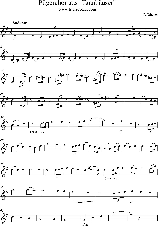 Klarinettennoten Pilgerchor