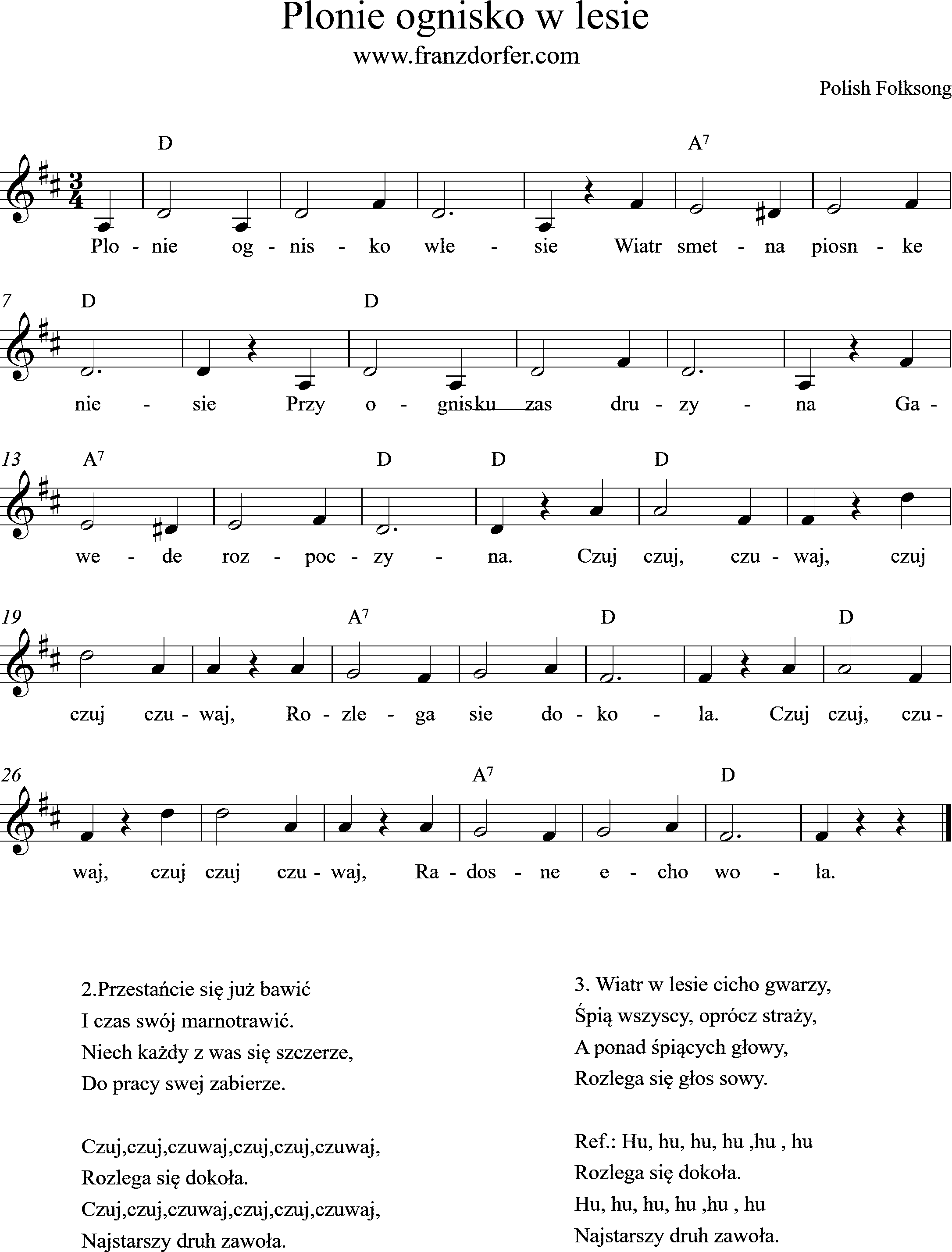 sheetmusic, D-Major, Plonie ognisko