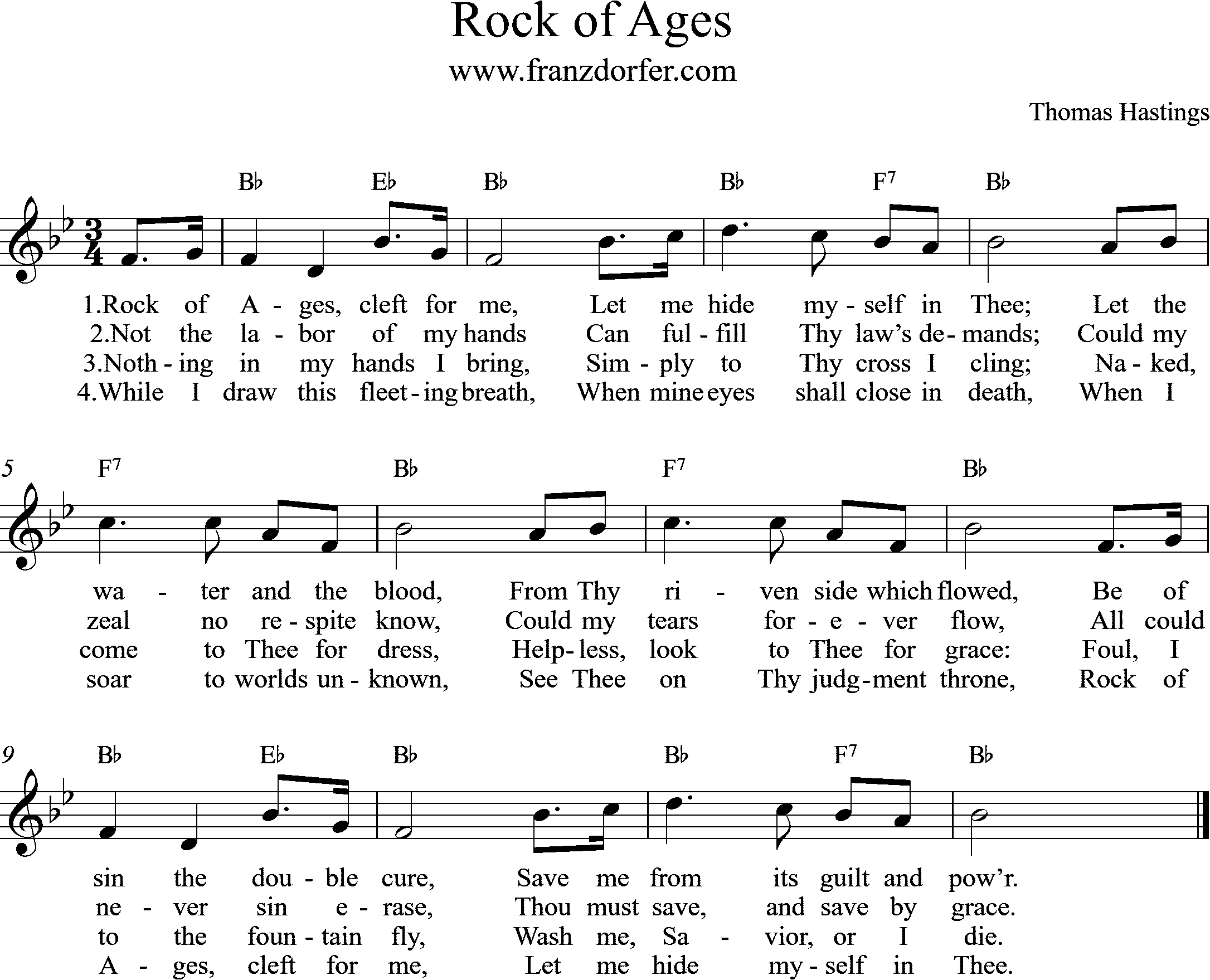 sheetmusic Rock of Ages