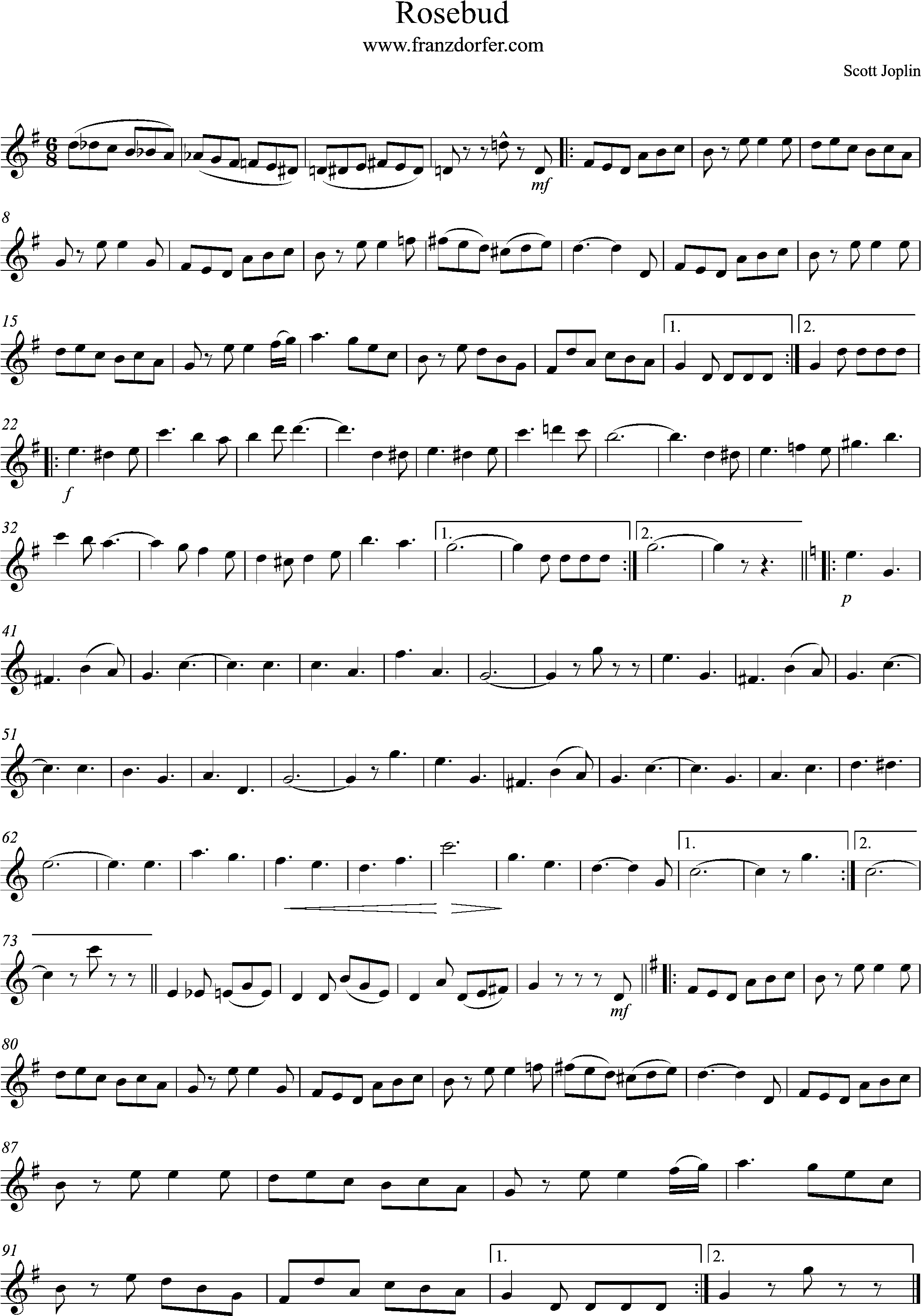 Solopart, sheetmusic- Rosebus, G-Major
