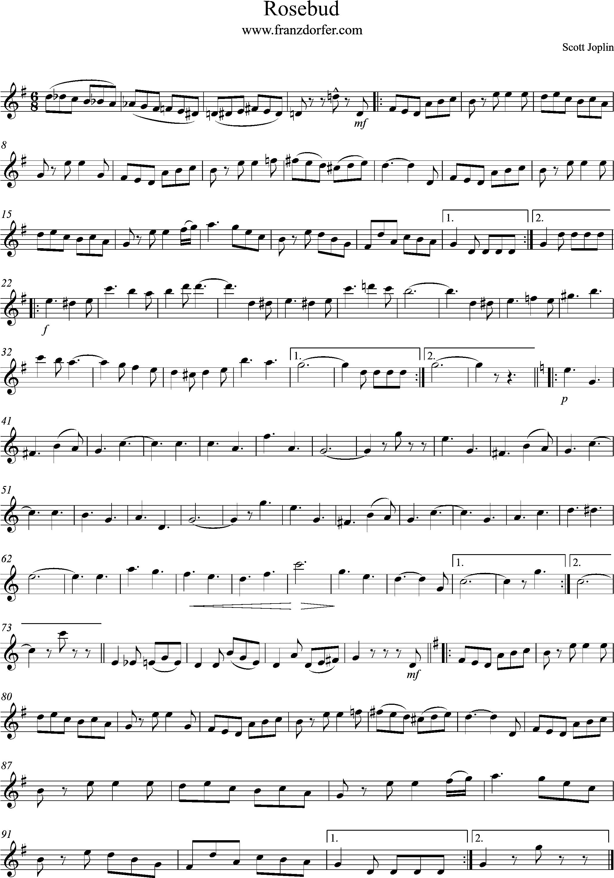 Solopart, sheetmusic- Rosebus, G-Major