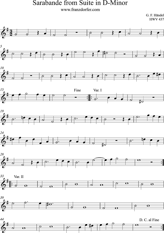 Noten Sarabande Händel- HWV 437- Clarinet