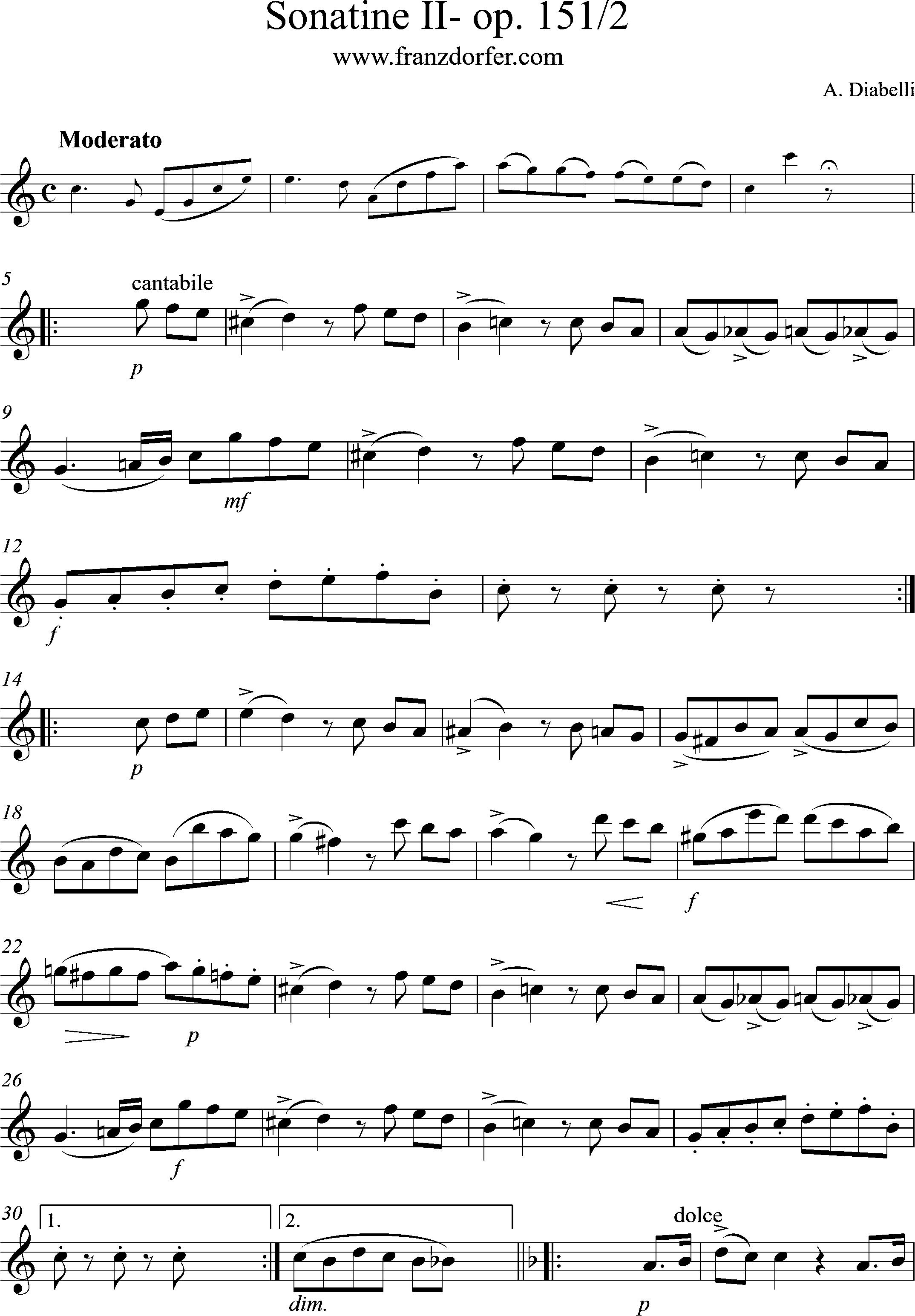 Diabelli Sonatine II- Moserato, Solo