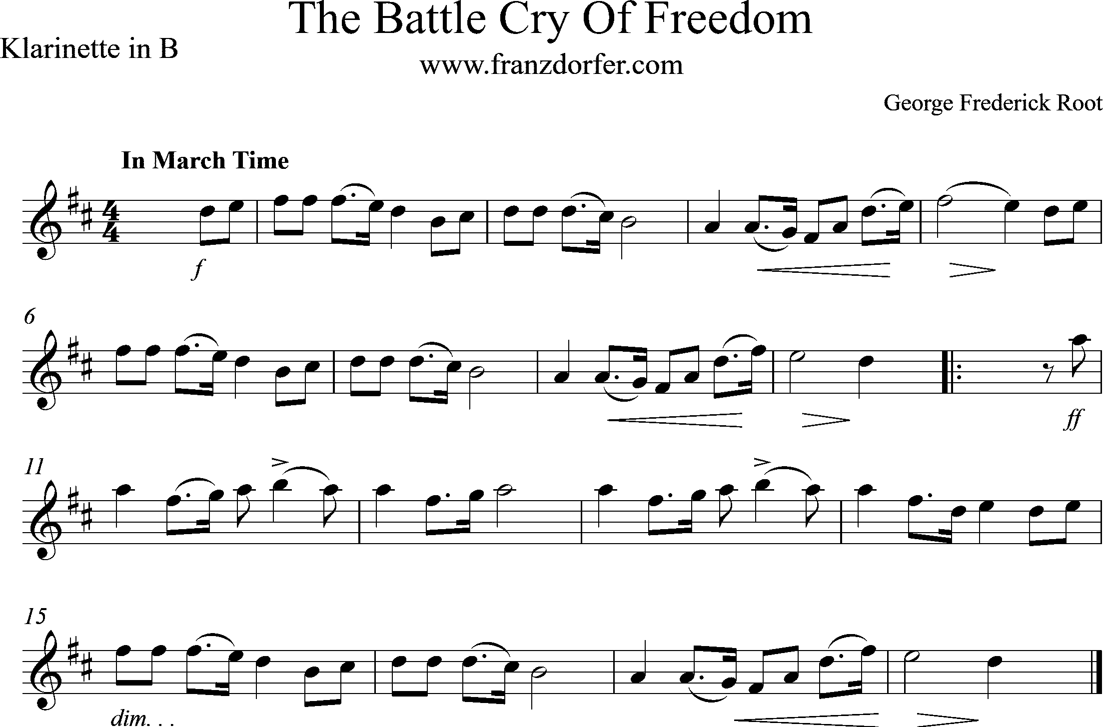 noten The Battle cry of freedom