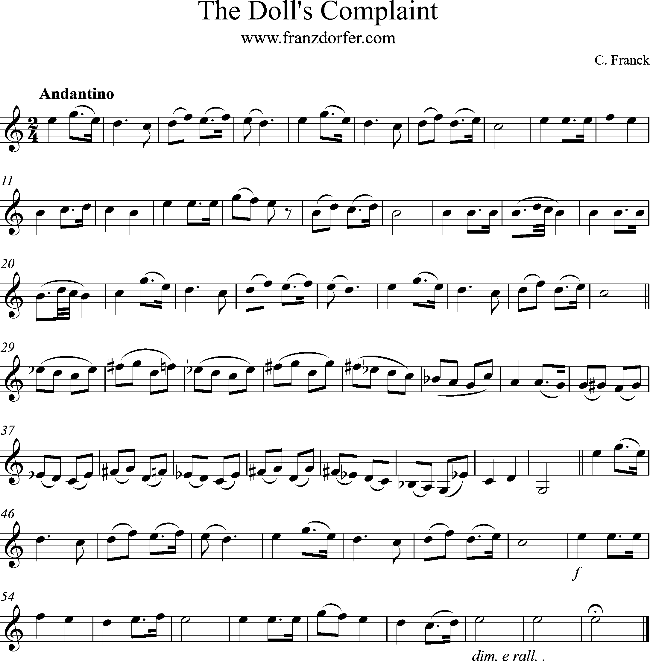 freesheetmusic The Dolls Complaint