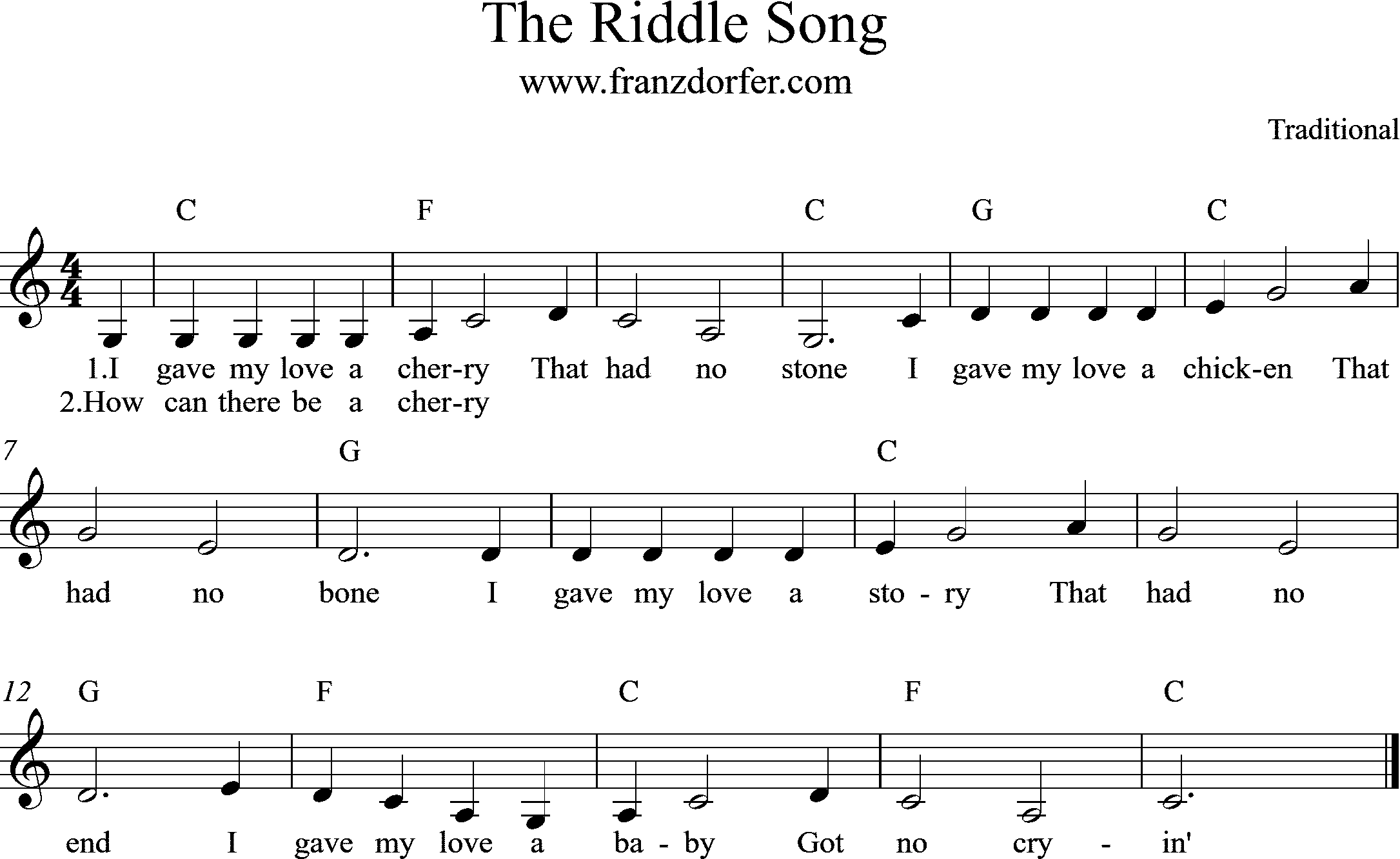 Clarinet sheet, The Riddle Song