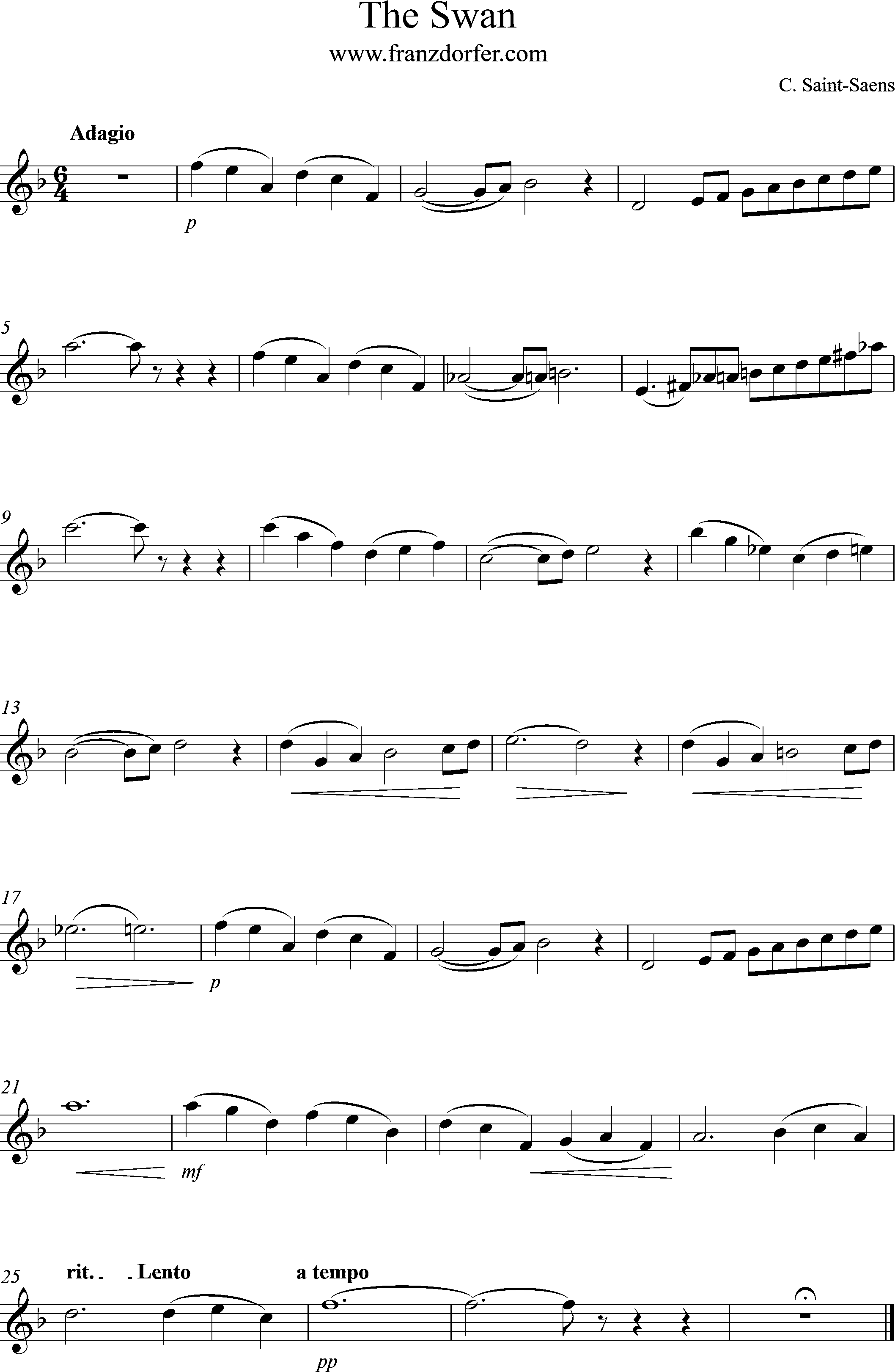 Clarinet part- The Swan