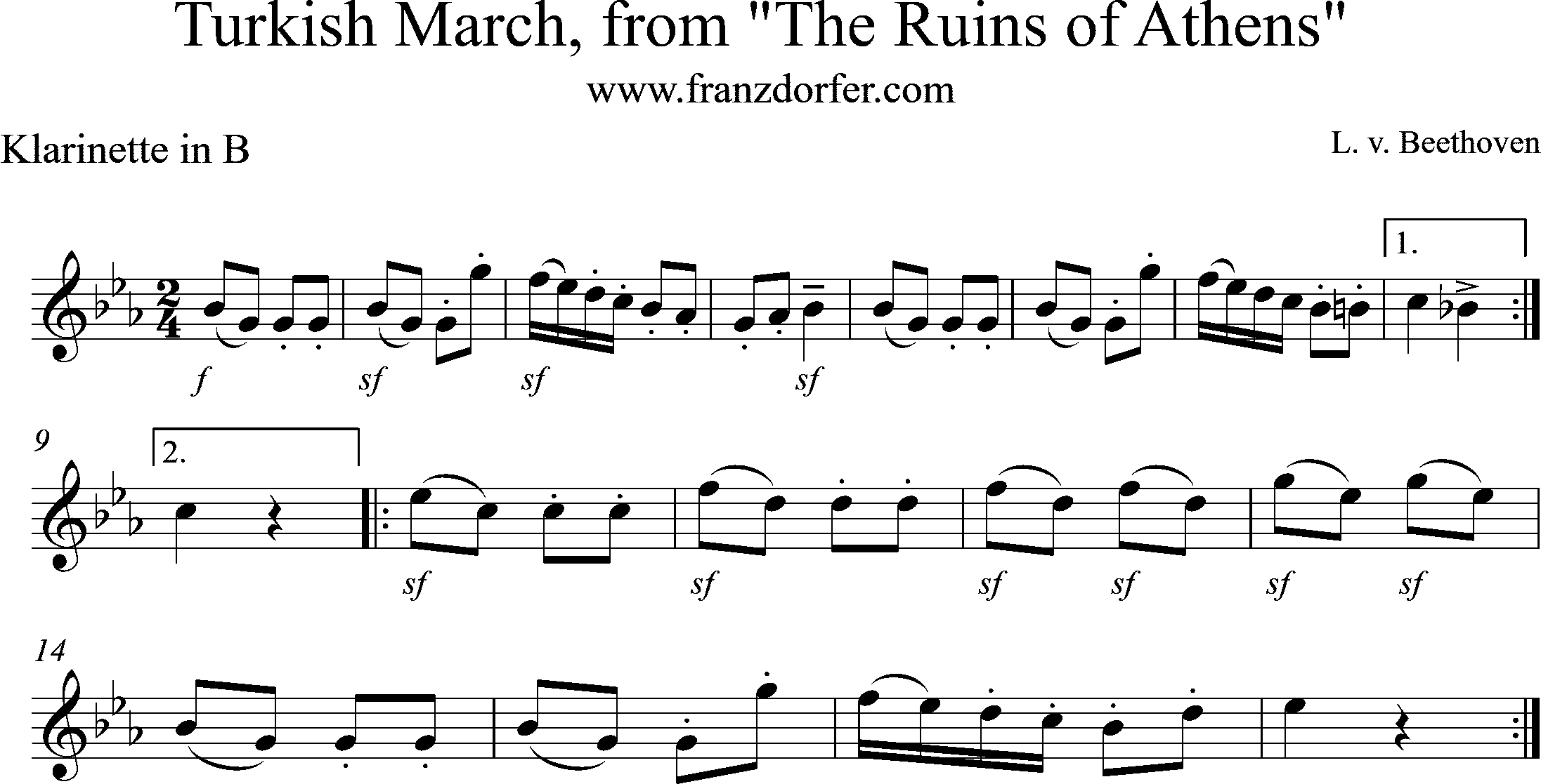 Noten Beethoven , Türkischer March
