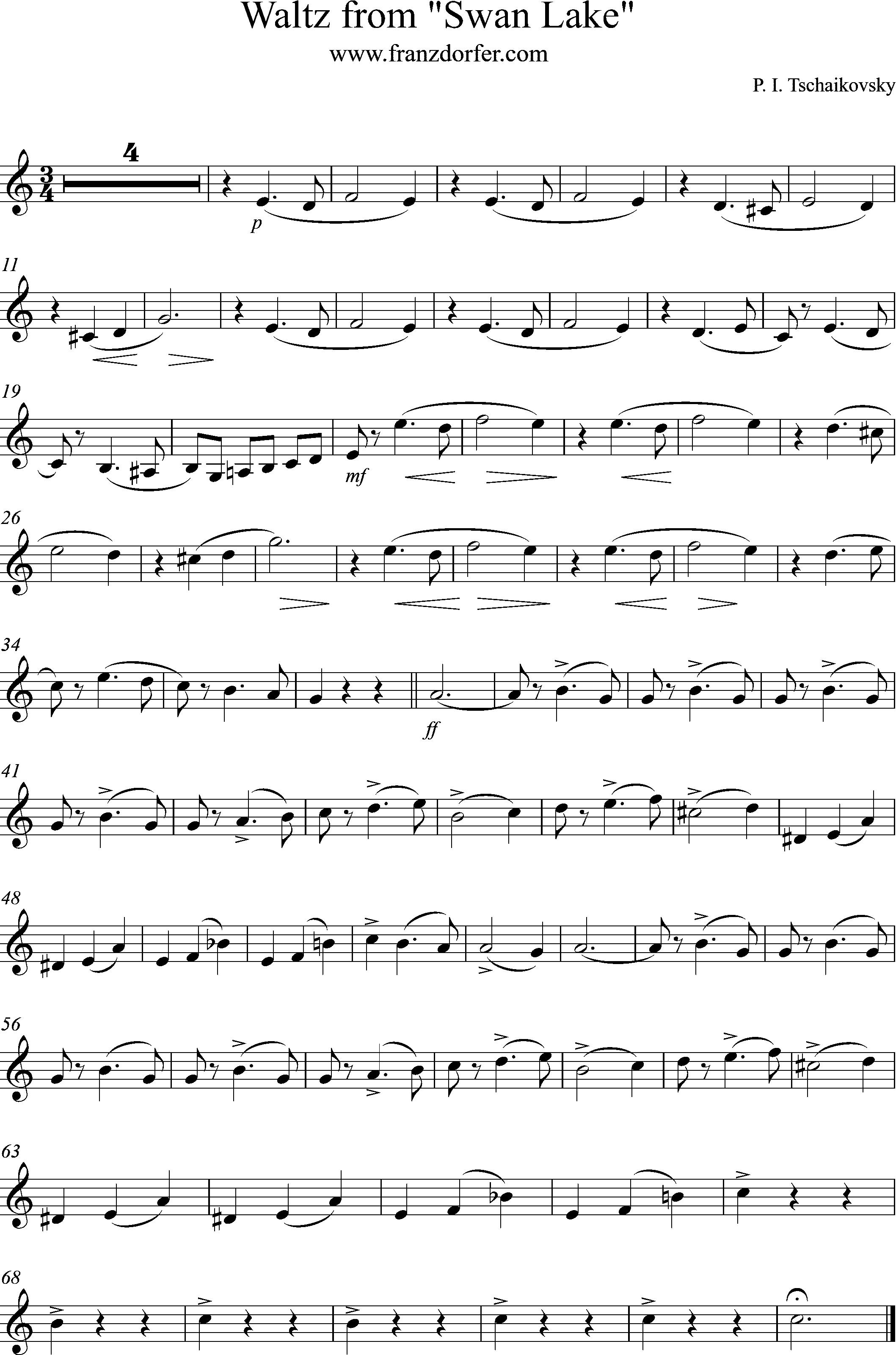 Klarinetten noten Waltzer aus Schwanensee
