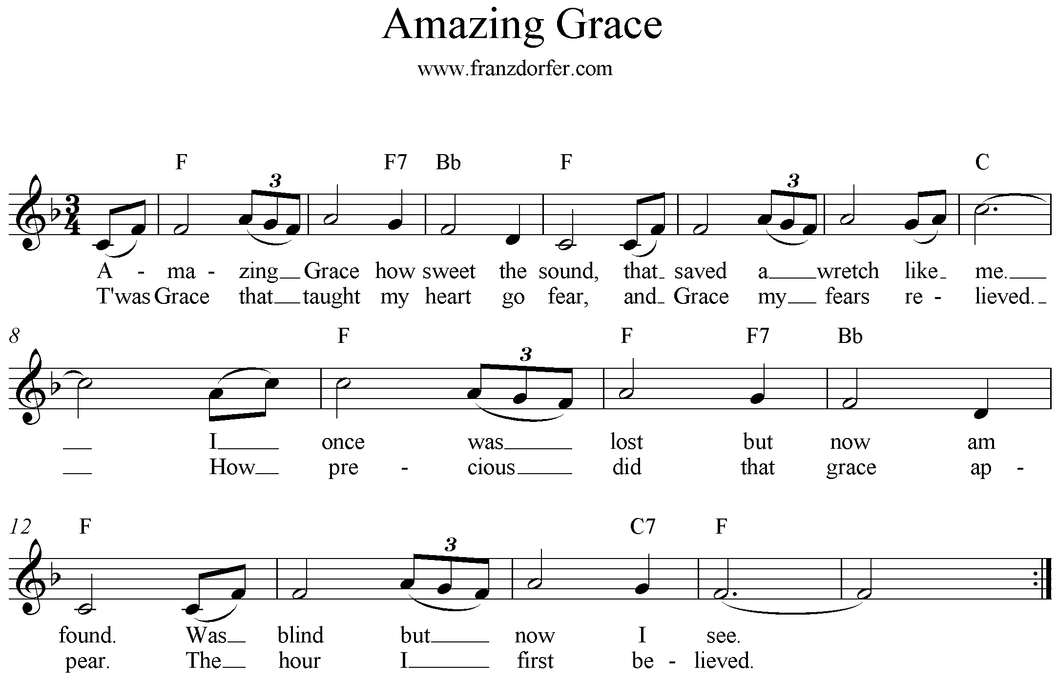 Noten, Amazing Grace, F-Dur, Blockflöte