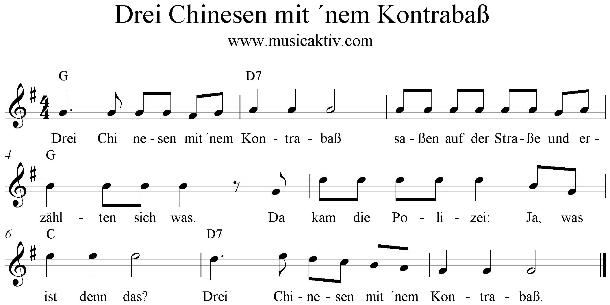 drei chinesen mit dem kontrabass liedtext