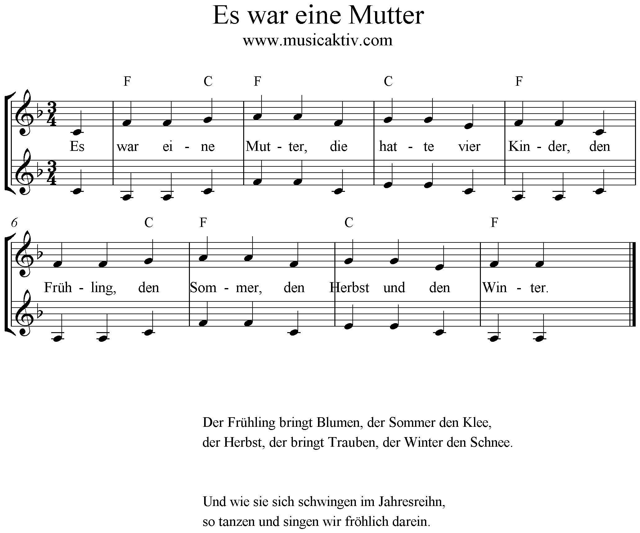 Noten Es war eine Mutter, Akkkorde, Text