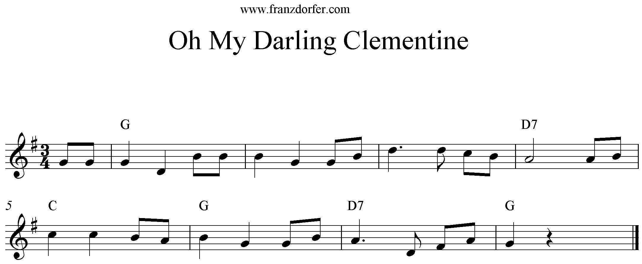 sheet Oh my Darling clementine