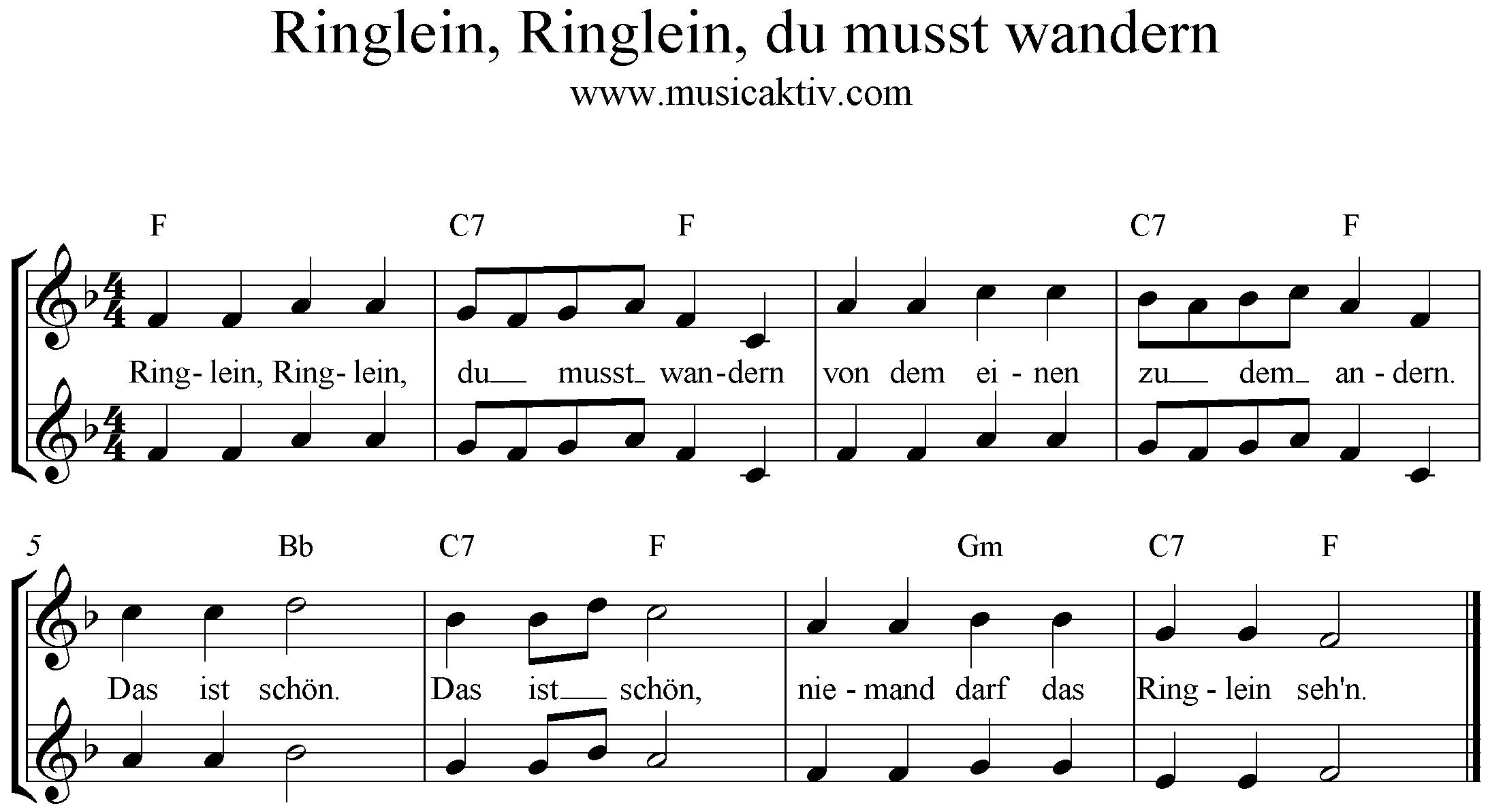 Noten Ringlein du musst wandern, F-Dur