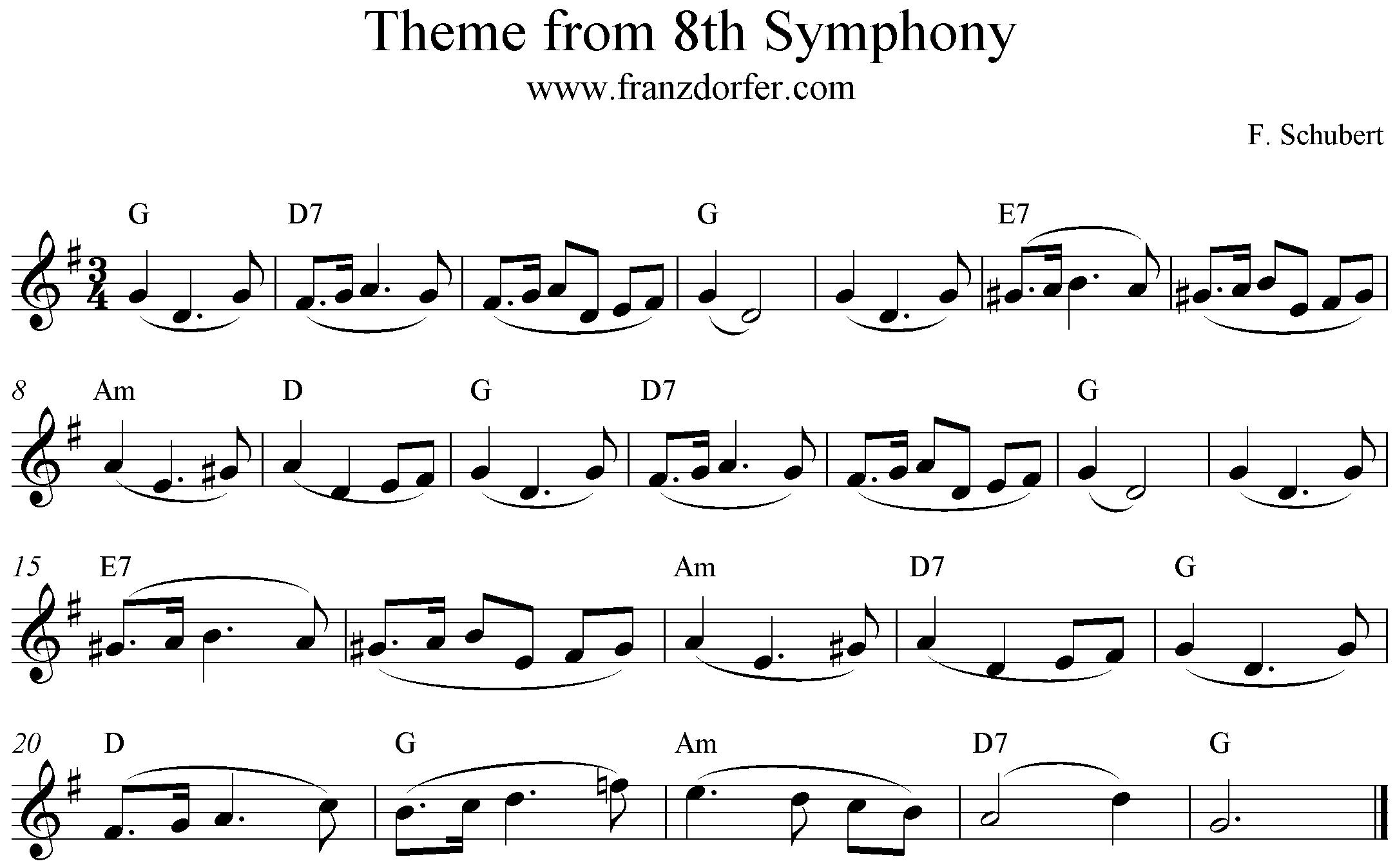 Note, Schubert, Die Unvollendete, Thema (, G-Dur, Blockflöte